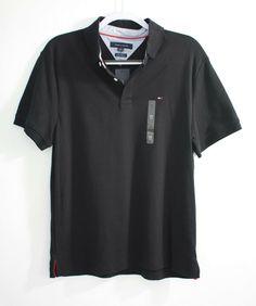 a12422ee Tommy Hilfiger Mens Custom Fit Black and Red Interlock Polo Shirt Pocket  Logo #fashion #