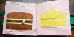 """Princess Quiet Book - treasure chest and crown page. The treasure chest has """"jewels"""" inside that go on the crown."""