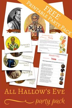 Grab this free All Hallow's Eve printable party pack! This would make a fantastic halloween alternat Saints Game, All Saints Day, Catholic Crafts, Catholic Kids, Catholic School, Holidays Halloween, Halloween Party, Catholic Feast Days, Catholic Traditions