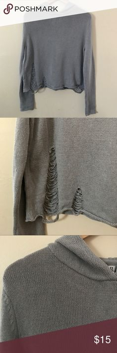 H&M Gray Distressed Sweater H&M Gray Distressed Sweater   - Size Medium - Hooded cropped sweater  - Worn once condition like new!      Gypsy Warrior , Nasty Gal , Asos , Pacsun , Urban Outfitters , Forever 21 , Free People , LF , shop bop , revolve clothing , Nordstrom , unif , dolls kill , grey sweater , ripped sweater , shredded sweater , grunge , Zara , miss guided , boohoo , Windsor  (stores for views) H&M Sweaters