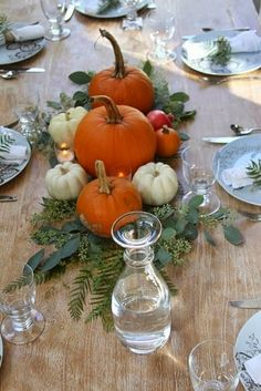 Fall Table Centerpieces and Home Decor Farmhouse style.Way To Thanksgiving Table Decor To Inspire 03 Thanksgiving Table Settings, Thanksgiving Centerpieces, Diy Thanksgiving, Pumpkin Centerpieces, Holiday Tables, Decorating For Thanksgiving, Greenery Centerpiece, Christmas Tables, Table Centerpieces