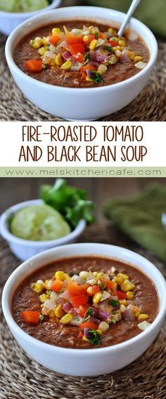 This healthy, delicious fire-roasted tomato and black bean soup is great for all seasons.