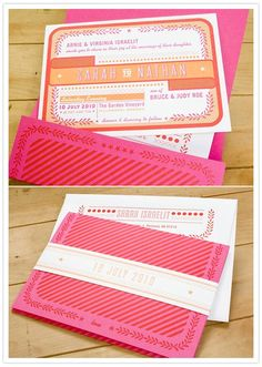 Bright invites with belly band.