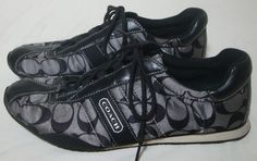 COACH Sneakers Kirby Signature Logo Lace Up Shoes Gray Black Sateen Women 9.5 #COACH #Casual