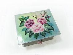 Storage  Jewelry Trinket Box Original One Stroke Painting with Lock