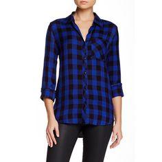 Allen B. by Allen Schwartz Yarn-Dye Buffalo Plaid Shirt ($35) found on Polyvore featuring tops, women tops, tartan plaid shirt, henley shirt, long sleeve henley shirt and long sleeve shirts