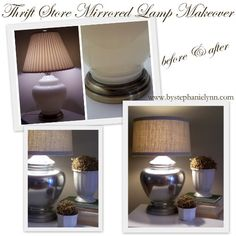 DIY pottery barn inspired mercury lamp: thrift store lamp + drum shade + burlap + spray paint. And other cheap DIY decorating tips.