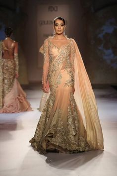 indian wedding clothes gaurav gupta 2014, peach lehenga