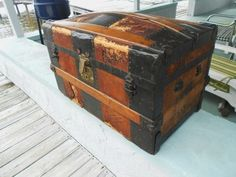 Antique 1870 Camel Back Dome Top Quilt Chest Steamer Trunk