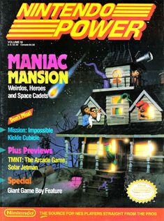 Maniac Mansion earns spot in elegy to Nintendo Power covers Classic Video Games, Retro Video Games, Video Game Art, Retro Games, Video Game Magazines, Gaming Magazines, Giant Games, Old Video, All Games