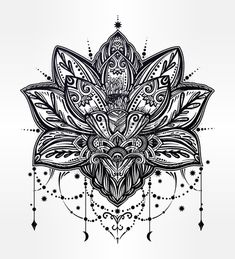 Vector ornamental Lotus flower ethnic art patterned Indian paisley Hand drawn illustration Invitatio Stock Vector
