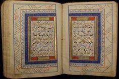 BIHARI QURAN IN GOLD, BLUE & BLACK- About 500 Years Old[koran-Islam-Arabic