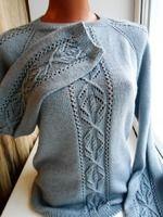 Женский свитер связан из пряжи детский каприз(пехорка), спицы №3, размер 48, расход пряжи 300 грамм. Узор взят из журнала Верена, февраль 2017.