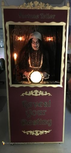 I made this Fortune Teller Booth on wheels for easy mobility. I saw some ideas online for the booth but i wanted to be a LIVE interactive fortune teller. I needed to be mobile since this was for a contest at work so i added. Scary Carnival, Haunted Circus, Creepy Circus, Halloween Circus, Halloween Party Decor, Scary Halloween, Halloween 2018, Circus Clown, Creepy Clown