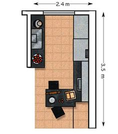 14,08 m²: Colocar los muebles en dos frentes es una distribución aconsejable en…