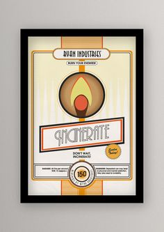 BioShock - Plasmid Posters by Andy Gimson.  There's a bunch of these prints.  Would be an awesome series to own!