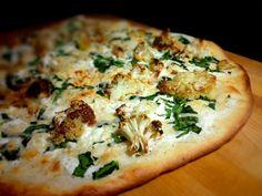 Roasted Cauliflower Pizza with Goat Cheese & Rosemary Garlic Cream Sauce