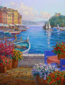 Memories of Portofino - oil painting by Mikki Senkarik. This is fabulous! Tuscany Landscape, Landscape Art, Landscape Paintings, Oil Paintings, Belle Photo, Painting Inspiration, Scenery, Art Gallery, Canvas Art