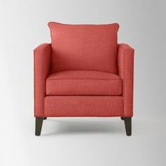 Coral salmon pink Armchair - West Elm Dunham Arm Chair Toss Back Linen Weave Lotus Pink.jpg