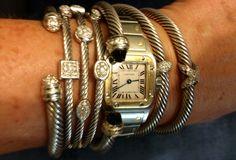 Daily stacked bracelets // David Yurman and Cartier // Chez Lehr