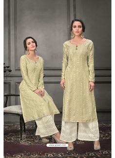 Olive Green Designer Munga Silk Palazzo Salwar Suit