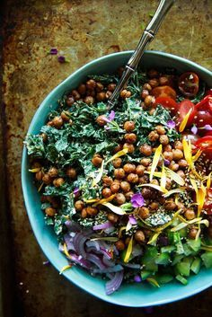 Tahini Kale Salad with Crispy Chickpeas- Vegan from http://HeatherChristo.com