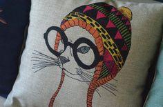 Quirky Cat Pillow Cover Boho Indie Scandanavian Throw Pillow Cushion Cover Linen Animal Pillow Retro Nursery