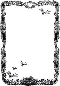 Dragonfly & fancy vintage frame blank page