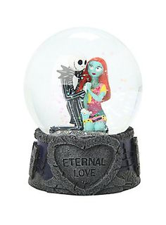 """They're simply meant to be. Water globe from <i>The Nightmare Before Christmas</i> with a Jack and Sally """"Eternal Love"""" design."""