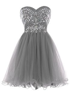 Sisjuly Women's Short Beaded Sweetheart Neck Tulle Christmas Dress Size 14 Grey