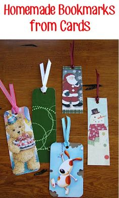 How to make Homemade Bookmarks from Cards! ~ from TheFrugalGirls.com ~ put those old birthday and Christmas cards to use with this fun craft! #thefrugalgirls Old Christmas, Christmas Card Crafts, Holiday Crafts, Fun Crafts, Crafts For Kids, Xmas Cards, Christmas Boxes, Christmas Shoebox, Christmas Birthday