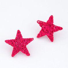 plum red weave star shape alloy Stud #Earrings   www.asujewelry.com