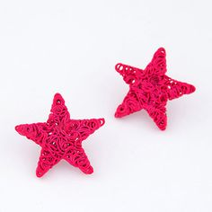 plum red weave star shape alloy Stud #Earrings   www.asujewelry.com