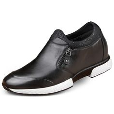 Black zip closure elevator casual shoes get tall 6.5cm / 2.56inch heel lifts boat shoes