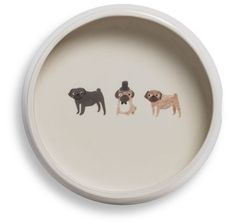 pug round dog bowl