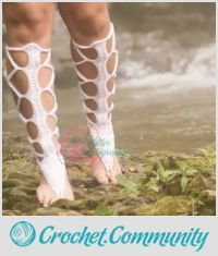 EDITOR'S CHOICE (06/16/2016) Barefoot Lace-Up Gladiator Sandals!!! My own design :) by ClarissaDove View details here: http://crochet.community/creations/4634-barefoot-lace-up-gladiator-sandals-my-own-design