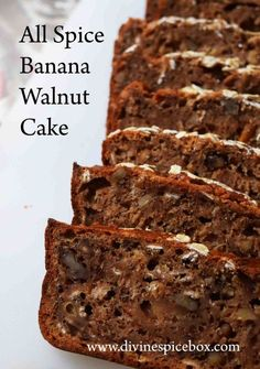 banana, oats and walnut cake, egg-free. Eggless Banana Cake Recipe, Eggless Desserts, Eggless Baking, Eggless Recipes, Baking Desserts, Vegan Desserts, Vegan Food, Food Food, Vegan Recipes