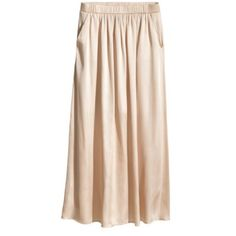 Satin Maxi Skirt in Light Beige -Sold Out- Show stopper! Great like new condition!          DESCRIPTION From H&M: Long satin skirt with elasticized waistband and side pockets. Jersey lining at top. DETAILS 100% polyester. Machine wash warm  Art.No. 48-2949  Imported H&M Skirts Maxi
