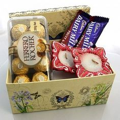 Diwali Ferrero & Cadbury with fancy Diya. With free shipping to Australia.