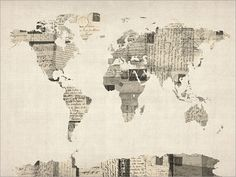 A map of the world made art print  from a collage of old postcards, in different languages and with stamps from a variety of countries, on an antique style background. Found on Etsy