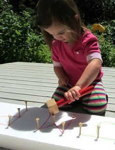 Letter Pounding: Gather your materials. You will need some Styrofoam, golf tees , a toy hammer , some markers and some painters tape if you are doing it outside to keep it from blowing away.