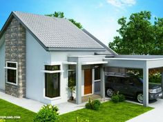 Simple One Bedroom House Plans Fresh Wanda – Simple 2 Bedroom House with Fire Wall One Bedroom House Plans, Small House Floor Plans, Cottage House Plans, Beautiful Small Homes, Beautiful House Plans, Small House Design, Modern House Design, House Construction Plan, Building A New Home