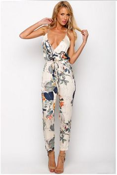 $27.70 Hot Sale Sexy Women Straps Floral Printing Backless Jumpsuit
