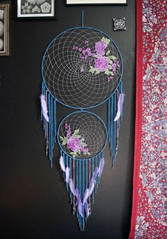 Blue & Lavender Roses Dream Catcher