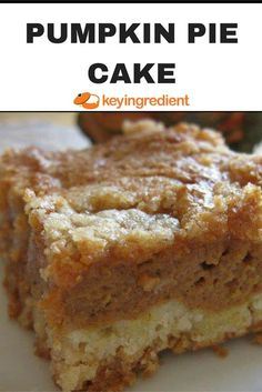 This pumpkin pie cake is almost like a pumpkin pie cobbler. Rich and yummy. Try it warm from the oven with a scoop of vanilla ice cream. Almost like a pumpkin pie cobbler. Rich and yummy. Try it warm from the oven with a scoop of vanilla ice cream. Mini Desserts, Fall Desserts, Just Desserts, Delicious Desserts, Dessert Recipes, Health Desserts, Plated Desserts, Recipes Dinner, Pumpkin Deserts