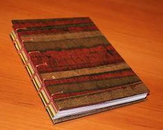 De Hilo & Papel: Cuaderno Copta Hojas Teñidas, Tapa Rayas