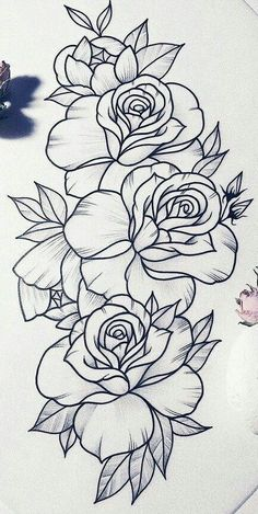 Tatoo Floral, Floral Tattoo Design, Flower Tattoo Designs, Art Drawings Sketches Simple, Tattoo Sketches, Tattoo Drawings, Cute Drawings, Stencils Tatuagem, Tattoo Stencils