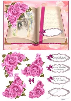 - An open book with a bride and grooms clothes on one page. Pink roses in the corner to decoupage. Paper Flowers Craft, Flower Crafts, Happy Anniversary, Wedding Anniversary, Printable Crafts, Open Book, Card Designs, Grooms, Pink Roses