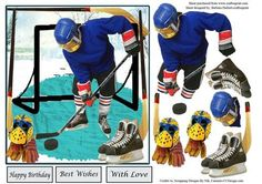 Hockey Practice Card Topper Decoupage on Craftsuprint - Add To Basket!