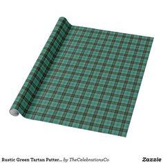 Rustic Green Tartan Pattern Seasonal Style Wrapping Paper Tartan Pattern, Custom Wrapping Paper, Christmas Gift Wrapping, Business Supplies, Keep It Cleaner, Outdoor Blanket, Wraps, Seasons, Rustic